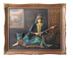 تابلو نقاشی بانوی سه تار در فروشگاه اینترنتی