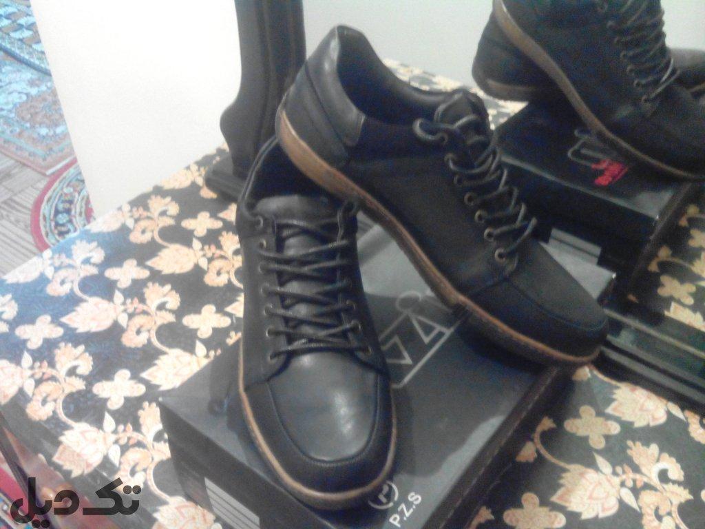 کفش بوت مردانه چرم اصل.44